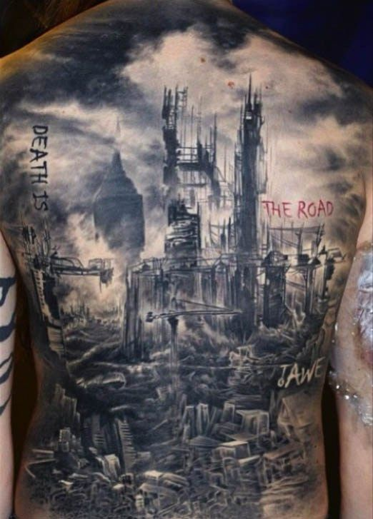 post-apocalyptic scenery tattoo